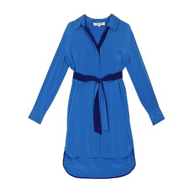 unbalance silk dress blue
